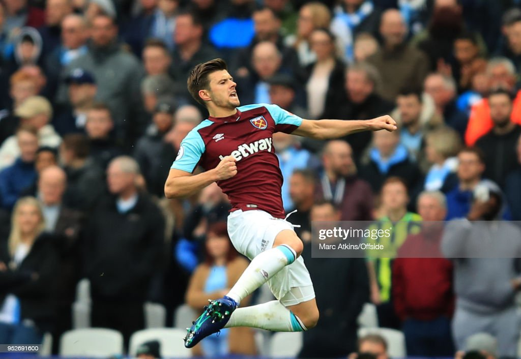 Aaron Cresswell of West Ham celebrates scoring their 1st goal during the Premier League match between West Ham United and Manchester City at London Stadium on April 29, 2018 in London, England.