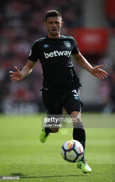 Aaron Cresswell of West Ham in action during the Premier League match between Southampton and West Ham United at St Mary's Stadium on August 19 2017...