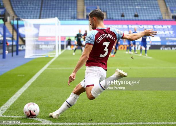 Aaron Cresswell of West Ham takes a corner during the Premier League match between Leicester City and West Ham United at The King Power Stadium on...