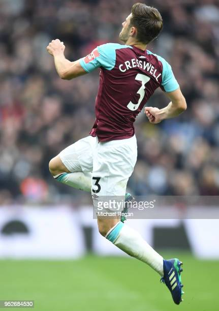 Aaron Cresswell of West Ham United celebrates after scoring his sides first goal during the Premier League match between West Ham United and...