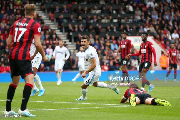 Aaron Cresswell of West Ham United celebrates after scoring his team's second goal during the Premier League match between AFC Bournemouth and West...