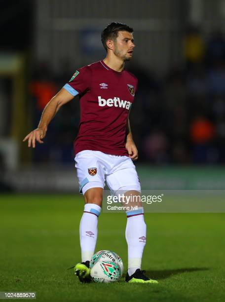 Aaron Cresswell of West Ham United during the Carabao Cup Second Round match between AFC Wimbledon and West Ham United at The Cherry Red Records...