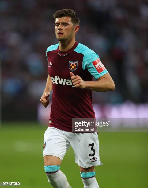 Aaron Cresswell of West Ham United during the Premier League match between West Ham United and Manchester United at London Stadium on May 10 2018 in...
