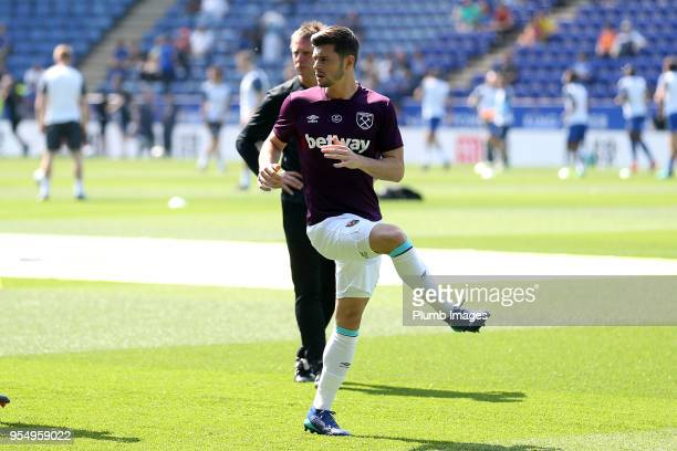 Aaron Cresswell of West Ham United warms up ahead of the Premier League match between Leicester City and West Ham United at King Power Stadium on May...