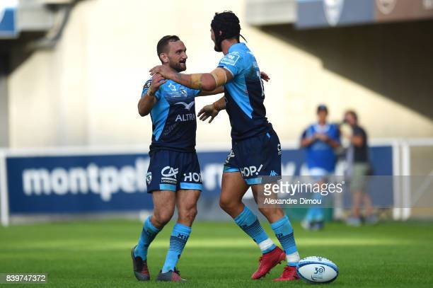Aaron Cruden and Alexandre Dumoulin of Montpellier celebrate during the Top 14 match between Montpellier and SU Agen at on August 26 2017 in...