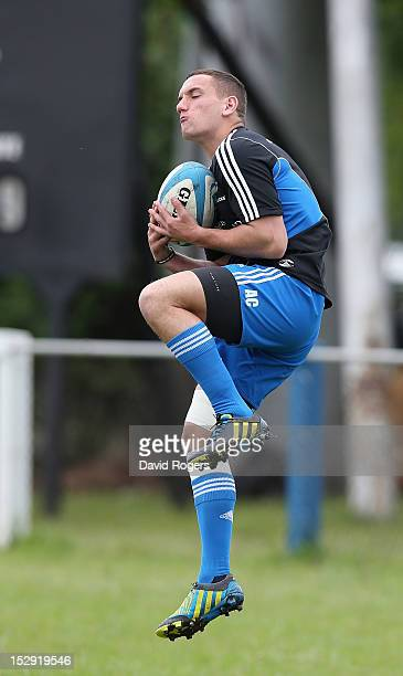 Aaron Cruden catches the ball during the New Zealand All Blacks captain's run at Centro Naval on September 28 2012 in Buenos Aires Argentina