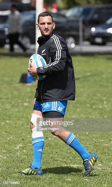 Aaron Cruden looks on during a New Zealand All Blacks training session held at St George's College on September 25 2012 in Buenos Aires Argentina
