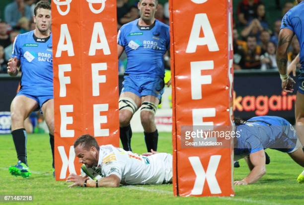 Aaron Cruden of Chiefs goes over the line only to be disallowed during the round nine Super Rugby match between the Force and the Chiefs at nib...