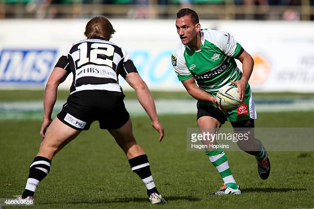 Aaron Cruden of Manawatu looks to pass during the round 8 ITM Cup match between Manawatu and Hawke's Bay at FMG Stadium on October 5 2014 in...