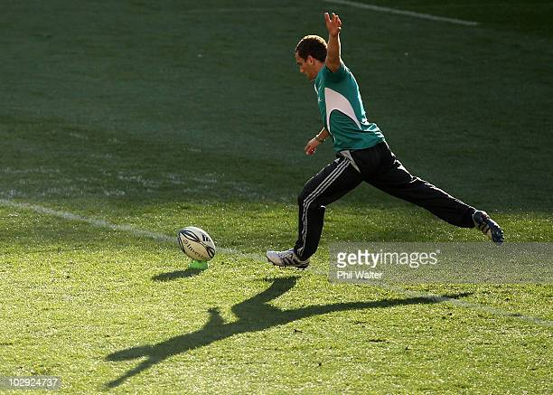 Aaron Cruden of the All Blacks kicks the ball during a New Zealand All Blacks Captain's Run at Westpac Stadium on July 16 2010 in Wellington New...