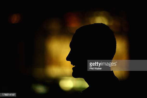 Aaron Cruden of the All Blacks speaks during a New Zealand All Blacks media session at the Intercontinental Hotel on August 15 2013 in Wellington New...