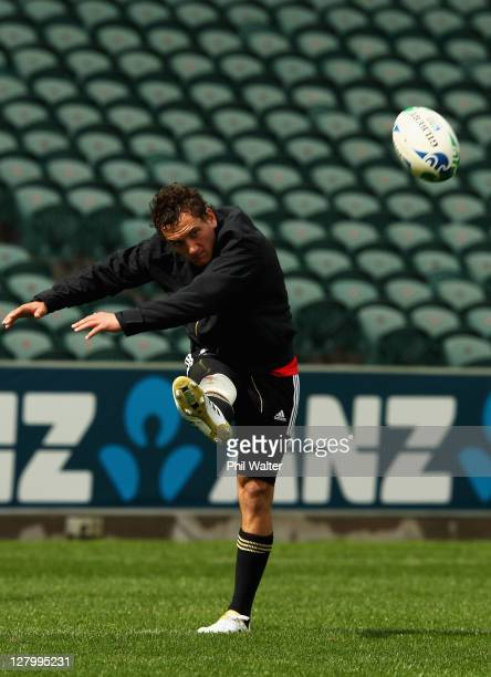 Aaron Cruden of the All Blacks takes a kick during a New Zealand IRB Rugby World Cup 2011 training session at North Harbour Stadium on October 5 2011...