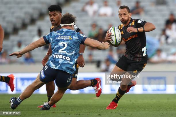 Aaron Cruden of the Chiefs during the round one Super Rugby match between the Blues and the Chiefs at Eden Park on January 31, 2020 in Auckland, New...