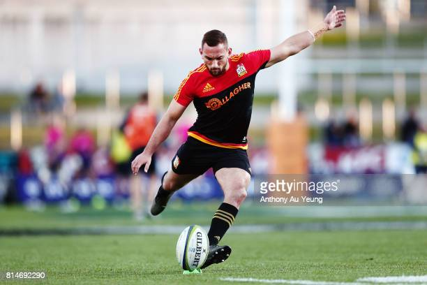 Aaron Cruden of the Chiefs during warmup prior to the round 17 Super Rugby match between the Chiefs and the Brumbies at Waikato Stadium on July 15...