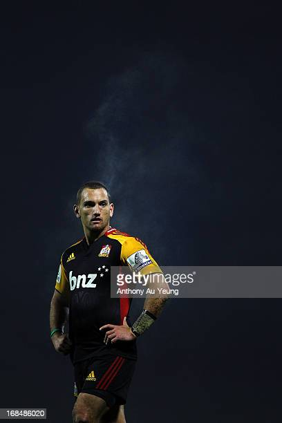 Aaron Cruden of the Chiefs looks on during the round 13 Super Rugby match between the Chiefs and the Force at ECOLight Stadium on May 10 2013 in...