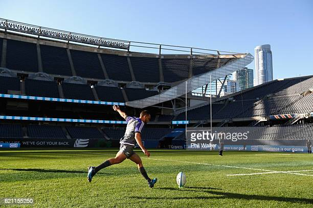 Aaron Cruden of the New Zealand All Blacks kicks at goal during the All Blacks captains run at Soldier Field on November 3 2016 in Chicago Illinois