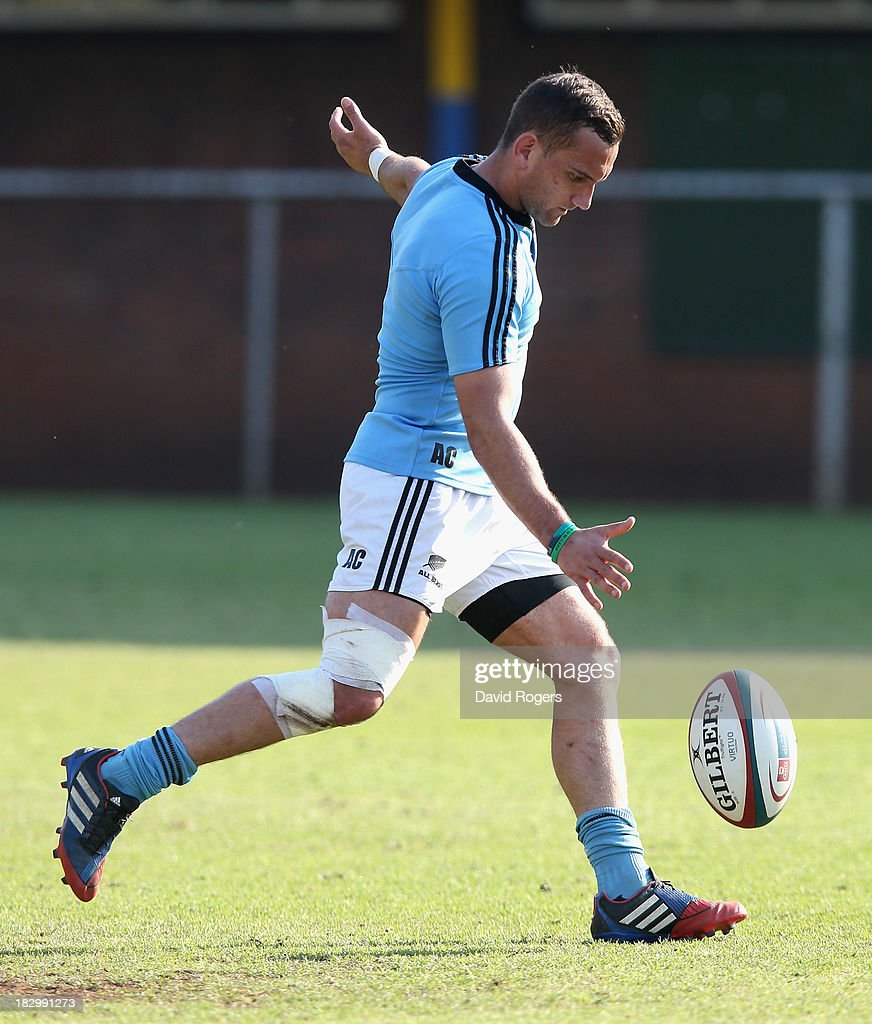 Aaron Cruden practices his kicking during the New Zealand All Blacks training session held at Wits University on October 3, 2013 in Johannesburg, South Africa.
