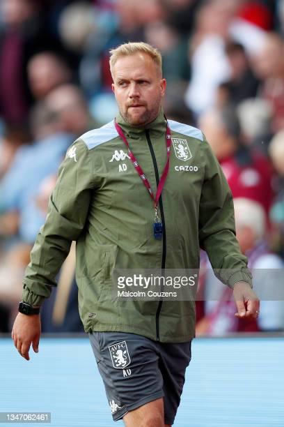 Aaron Danks of Aston Villa looks on during the Premier League match between Aston Villa and Wolverhampton Wanderers at Villa Park on October 16, 2021...