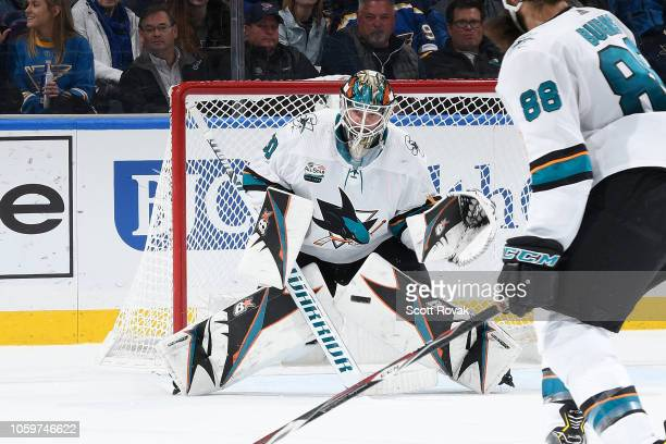 Aaron Dell of the San Jose Sharks blocks a shot from the St Louis Blues at Enterprise Center on November 9 2018 in St Louis Missouri