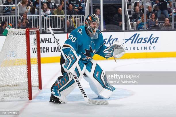 Aaron Dell of the San Jose Sharks defends the net against the Anaheim Ducks at SAP Center on September 19 2017 in San Jose California