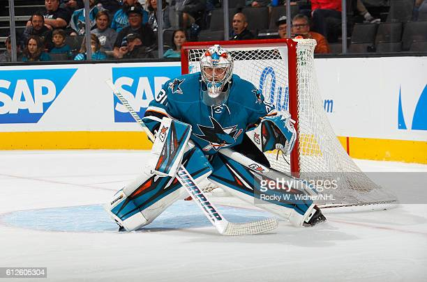 Aaron Dell of the San Jose Sharks defends the net against the Arizona Coyotes at SAP Center on September 30 2016 in San Jose California