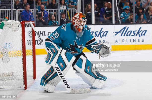 Aaron Dell of the San Jose Sharks defends the net against the New York Islanders at SAP Center on October 14 2017 in San Jose California
