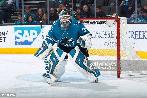 Aaron Dell of the San Jose Sharks defends the net against the Minnesota Wild at SAP Center on April 7 2018 in San Jose California Aaron Dell