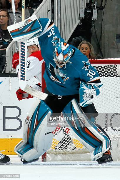 Aaron Dell of the San Jose Sharks defends the net during a NHL game against the Carolina Hurricanes at SAP Center at San Jose on December 10 2016 in...
