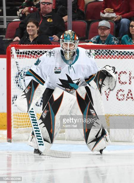Aaron Dell of the San Jose Sharks gets ready to make a save against the Arizona Coyotes at Gila River Arena on December 8 2018 in Glendale Arizona