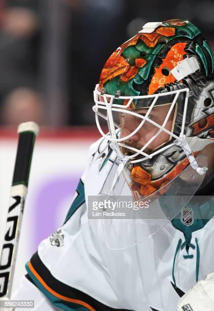 Aaron Dell of the San Jose Sharks looks on against the Philadelphia Flyers on November 28 2017 at the Wells Fargo Center in Philadelphia Pennsylvania