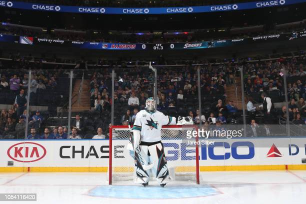 Aaron Dell of the San Jose Sharks looks on before the game against the New York Rangers at Madison Square Garden on October 11 2018 in New York City...