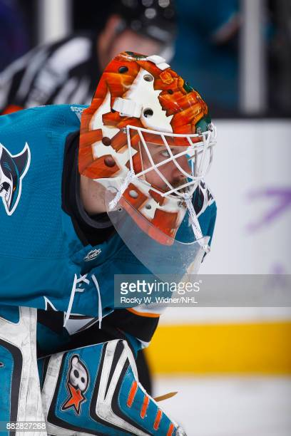 Aaron Dell of the San Jose Sharks looks on during the game against the Boston Bruins at SAP Center on November 18 2017 in San Jose California