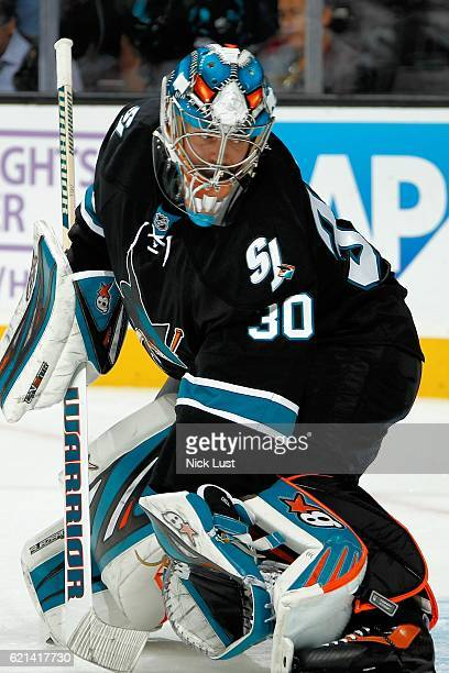 Aaron Dell of the San Jose Sharks looks on during warmups prior to a NHL game against the Calgary Flames at SAP Center at San Jose on November 3 2016...