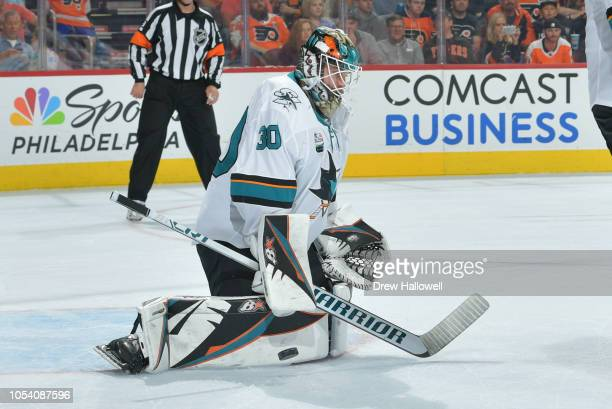 Aaron Dell of the San Jose Sharks makes a save Philadelphia Flyers at the Wells Fargo Center on October 9 2018 in Philadelphia Pennsylvania