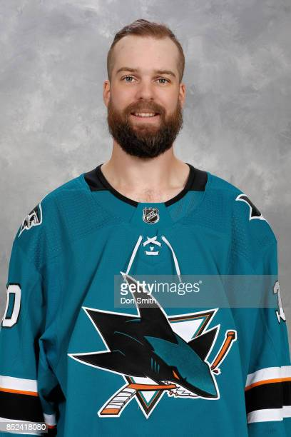 Aaron Dell of the San Jose Sharks poses for his official headshot for the 201718 season on September 14 2017 at Sharks Ice in San Jose California