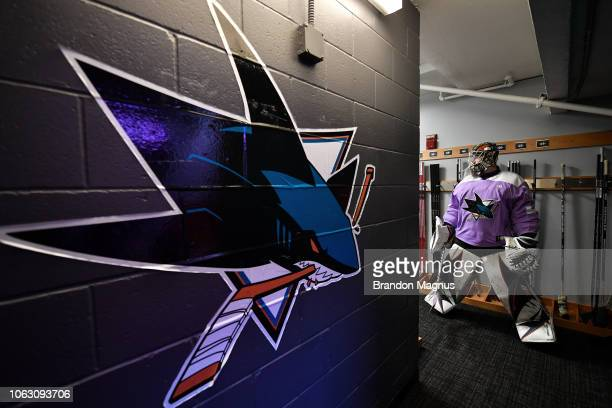Aaron Dell of the San Jose Sharks prepares to take the ice for warmups before the game against the St Louis Blues at SAP Center on November 17 2018...