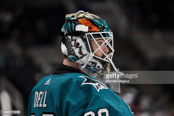 Aaron Dell of the San Jose Sharks warms up before facing the Minnesota Wild at SAP Center on November 6 2018 in San Jose California