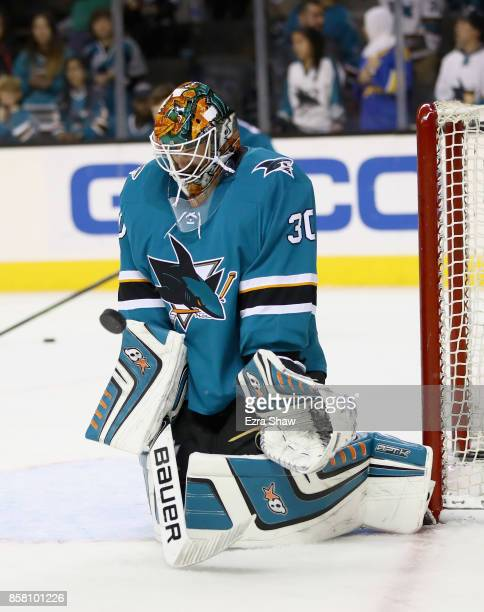 Aaron Dell of the San Jose Sharks warms up before their game against the Philadelphia Flyers at SAP Center on October 4 2017 in San Jose California