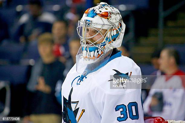 Aaron Dell of the San Jose Sharks warms up prior to the start of the game against the Columbus Blue Jackets on October 15 2016 at Nationwide Arena in...