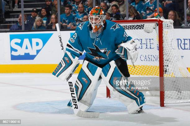 Aaron Dell of theSan Jose Sharks looks during a NHL game against the Los Angeles Kings at SAP Center on October 7 2017 in San Jose California