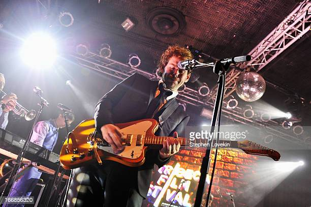 Aaron Dessner of The National performs at the Opening Night After Party and Performance during the 2013 Tribeca Film Festival on April 17 2013 in New...