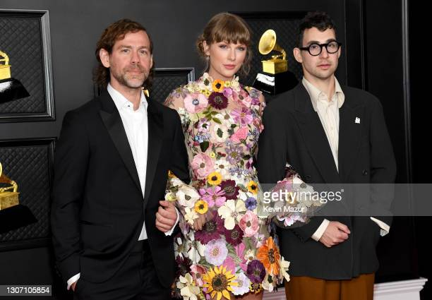 Aaron Dessner, Taylor Swift and Jack Antonoff attend the 63rd Annual GRAMMY Awards at Los Angeles Convention Center on March 14, 2021 in Los Angeles,...