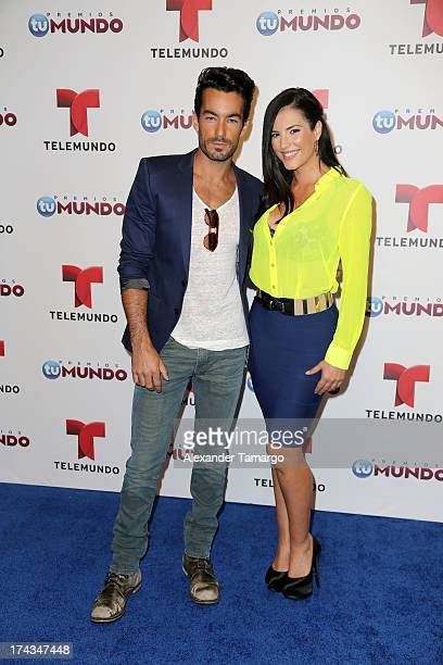 Aaron Diaz and Gaby Espino attend Telemundos Premios Tu Mundo Awards Announcement on July 24 2013 in Miami Florida