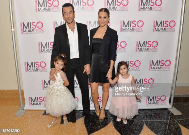 Aaron Diaz and Lola Ponce with daughters Erin Díaz Regina Díaz at Miami Symphony Miso Chic at the Adrienne Arsht Center on November 12 2017 in Miami...