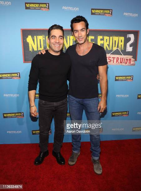 Aaron Diaz and Omar Chaparro attend the Miami VIP screening of No Manches Frida 2 at CMX Brickell City Centre on February 20 2019 in Miami Florida