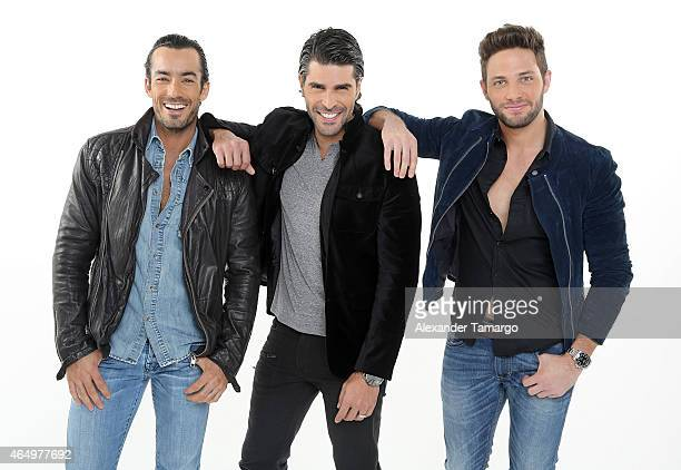 Aaron Diaz Juan Pablo Llano and Gabriel Coronel pose for an Entertainment Tonight photo session on January 29 2015 in Miami Florida