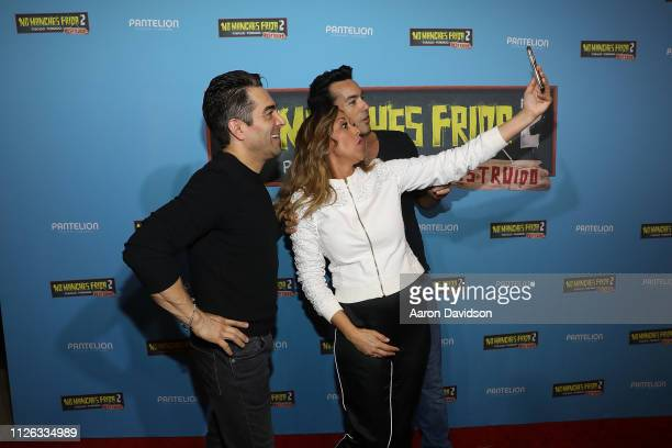 Aaron Diaz Veronica Bastos and Omar Chaparro attend the Miami VIP screening of No Manches Frida 2 at CMX Brickell City Centre on February 20 2019 in...