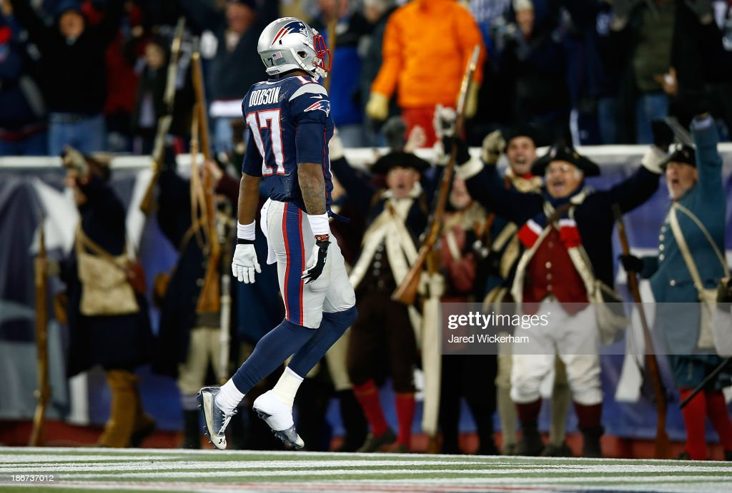 Aaron Dobson #17 of the New England Patriots celebrates in the endzone after catching a pass for a touchdown in the fourth quarter against the Pittsburgh Steelers at Gillette Stadium on November 3, 2013 in Foxboro, Massachusetts.