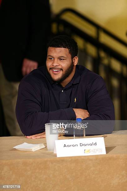 Aaron Donald from the University of Pittsburg and winner of the Chuck Bednarik Award for Collegiate Defensive Player of the Year attends the 77th...