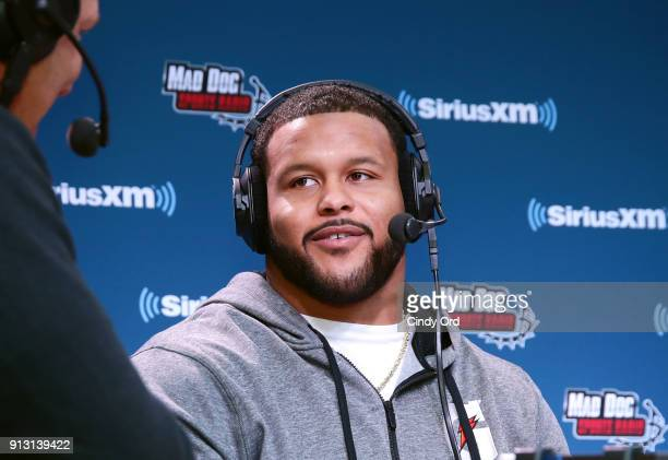 Aaron Donald of the Los Angeles Rams attends SiriusXM at Super Bowl LII Radio Row at the Mall of America on February 1 2018 in Bloomington Minnesota